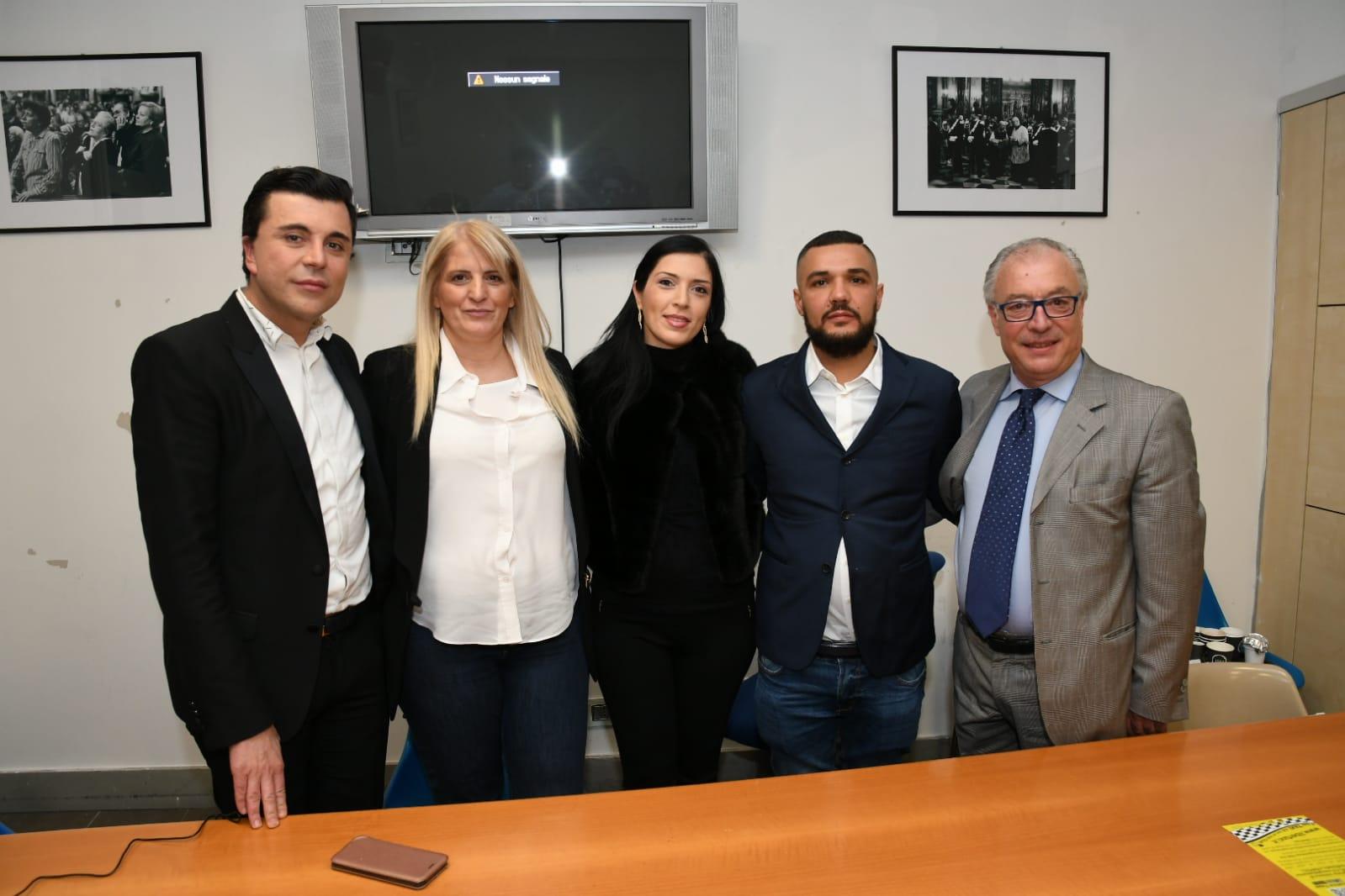 Conferenza Stampa di Presentazione LiberTaxi. da sinistra Fabio Palazzi, Anna Uleto, Patrizia S, Enrico Romano e Gennaro Carrino